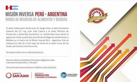 Convocatoria – Mision Inversa – Perú – Argentina – Ronda de Negocios, 8 y 9 de Mayo – San Juan